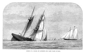ENGLAND: YACHTING, 1873. A collier yacht sinking, with the yacht 'Violet&#39