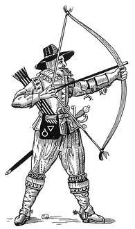 An English archer. Woodcut from Gervase Markham's Art of Archerie, 1634