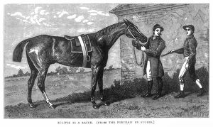 English racehorse. At Newmarket with a groom and jockey: wood engraving, 19th century