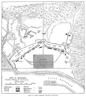 Engraved map, 19th century, of the Siege of Savannah, Georgia, during the American