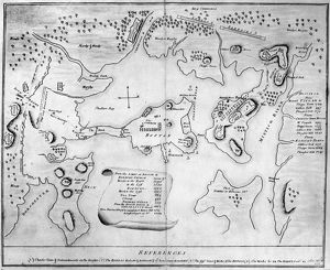Engraved map of Charlestown (now part of Boston), Massachusetts, marking rebels redoubts and works
