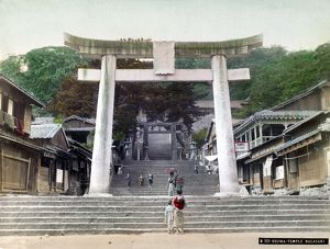 The entrance to Osuwa Temple, Nagasaki. Tinted photograph, c1900