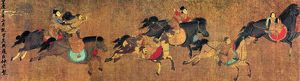 Equestrian acrobats in a Mongol circus. Left detail of a painted silk handscroll
