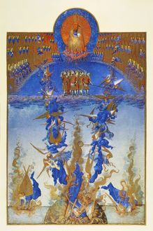 FALL OF REBEL ANGELS. Illumination from the 15th century manuscript of the 'Tres