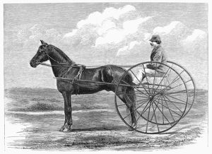 The fast trotting horse Ethan Allen. Wood engraving, 1867
