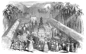 Festival of the Perahera, in Ceylon (present-day Sri Lanka). Wood engraving, English