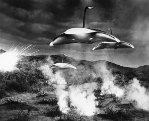 end world/film still ufos film showing flying saucers