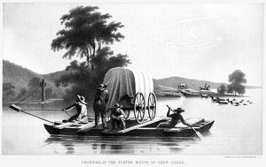 FLATBOAT, WYOMING. 'Crossing of the Platte Mouth of Deer Creek.' Lithograph
