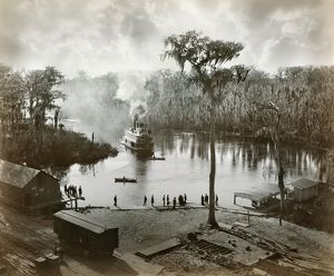 FLORIDA: STEAMBOAT, 1886. A steamboat landing at the railroad station, Silver Springs
