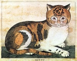 FOLK ART: CAT./n'Kitty.' Engraving, 19th century, by George White, Vermont.