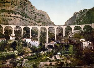 FRANCE: GRASSE, c1895. Bridge over the gorge of the wolf in Gourdon, Grasse, France