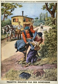 FRANCE: GYPSIES, 1890s. Gypsies abducting a young girl in the French countryside