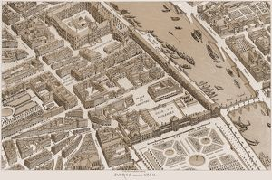 FRANCE: MAP OF PARIS, 1730. A partial view of Paris as it appeared in 1730. Lithograph