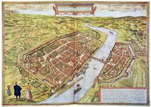 FRANKFURT, GERMANY, 1572. Bird's-eye-view of Frankfurt: engraved map, German, 1572