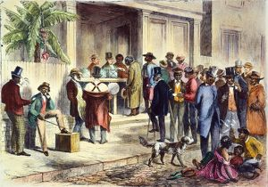 Freedmen voting in New Orleans in 1867: contemporary engraving.