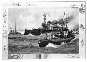 FRENCH NAVAL SHIPS, 1902. A French battleship, cruiser, and submarine. Illustration