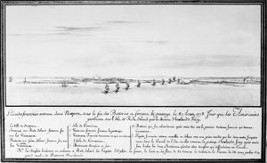 French naval squadron under the command of Comte d'Estaing entering Newport, Rhode Island