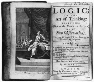 Frontispiece and title page of a 1717 edition of 'Logic; or, the Art of Thinking