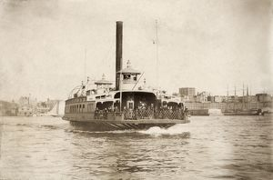 FULTON FERRY BOAT, 1890. The ferry steamboat 'Fulton' crossing the East River