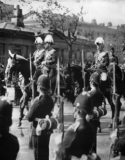 FUNERAL: EDWARD VII, 1910. Emperor Wilhelm II of Germany, King George V, and the
