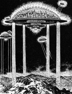 end world/future city 1922 electric rays suspend future