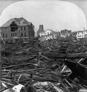 GALVESTON HURRICANE, 1900. Looking north from Ursuline Academy, showing wrecked