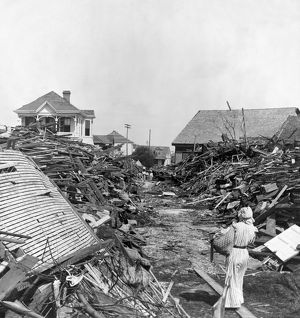 GALVESTON HURRICANE, 1900. A path through the debris, following the hurricane of