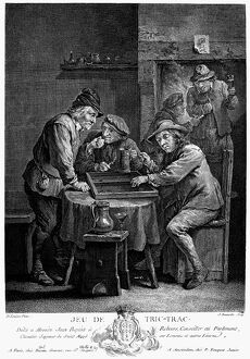 bars taverns saloons/a game trictrac line engraving french 18th