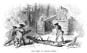General George Washington's army building rude log huts at Valley Forge during