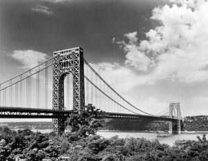 GEORGE WASHINGTON BRIDGE. Looking west toward New Jersey in 1964. Photograph.