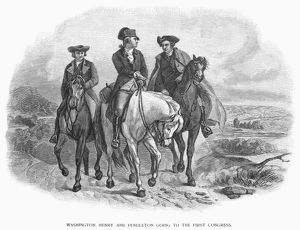 George Washington, Patrick Henry, and Edmund Pendleton travel to the First Continental