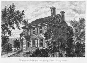 George Washington's headquarters at Valley Forge, Pennsylvania. Etching, 18th century.
