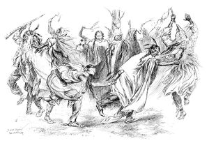 GHOST DANCE, 1890. Ghost Dance ceremony of Plains Native Americans. Sketch by J