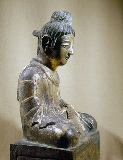 Gilt bronze seated Buddha, 338 A.D., the earliest dated Chinese Buddhist sculpture.