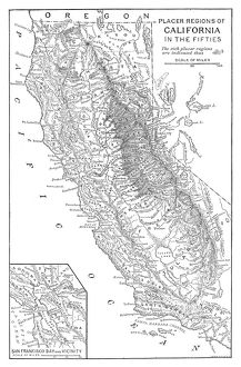 GOLD RUSH: MAP. Map of the placer mining regions of California in the 1850s. Engraving