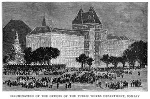 GOLDEN JUBILEE, 1887. Illumination of the Public Works Department in Bombay, India