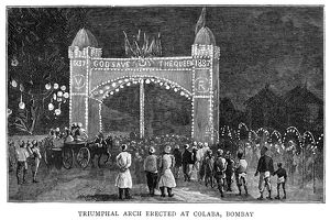 GOLDEN JUBILEE, 1887. A triumphal arch erected at Colaba, Bombay, India, in honor