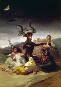 GOYA: WITCHES SABBATH. The Witches' Sabbath. Oil on canvas, 1795-98, by Francisco Goya