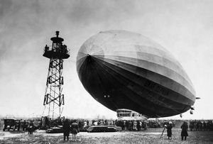 GRAF ZEPPELIN. The German airship 'Graf Zeppelin' approaching its mooring mast in Berlin