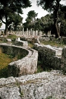 GREECE: OLYMPIA. The Palaestra at Olympia, site of the Olympic Games of antiquity