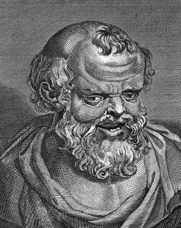 Greek philosopher of late 5th and 4th century B.C. Copper engraving, English, 18th cent.