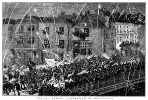 GUY FAWKES DAY, 1883. Guy Fawkes Night at Bridgewater, England, 5 November 1883
