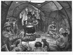 GYPSY ENCAMPMENT, 1879. Inside a gypsy tent at a camp at Mitcham Common, South London