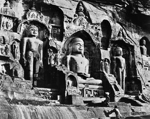 'The Happy Valley Gwaliq.' Giant Buddhist figures cut in the rock, photographed