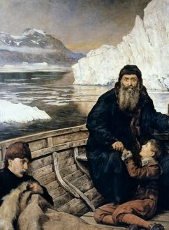 HENRY HUDSON AND SON. The last voyage of Henry Hudson (d. 1611). Oil on canvas by John Collier