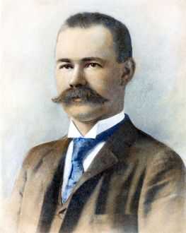 HERMAN HOLLERITH (1860-1929). American statistician and inventor. Oil over a photograph