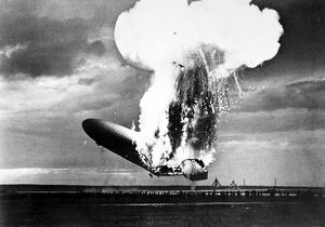 THE HINDENBURG, 1937. The German zeppelin 'Hindenburg' exploding at Lakehurst