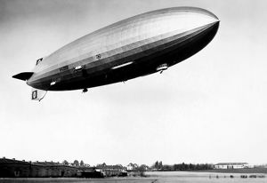 THE HINDENBURG. The German Zeppelin airship the Hindenburg in flight. 1930s photograph.