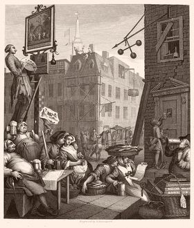 HOGARTH: BEER STREET. /n'Beer Street and Gin Lane.' Steel engraving, c1860