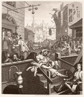 HOGARTH: GIN LANE. 'Beer Street and Gin Lane
